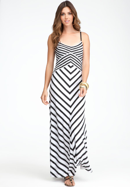 Cross Front Stripe Maxi Dress