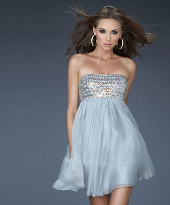 Rhinestones Embellished Strapless Cocktail Dress